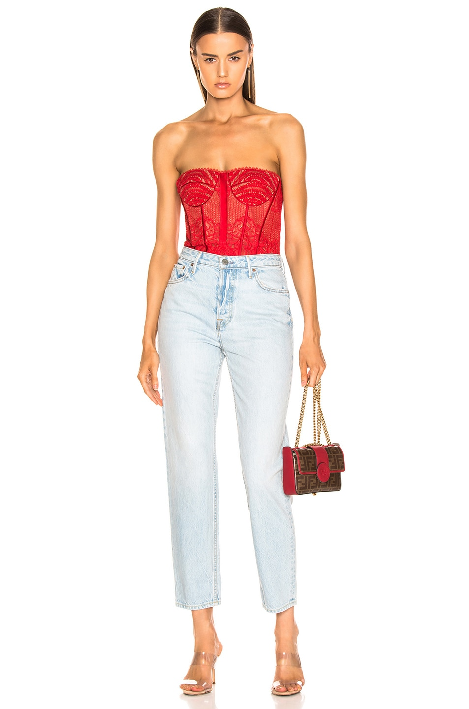 Image 6 of JONATHAN SIMKHAI Mixed Lace Bustier Bodysuit in Fire Red