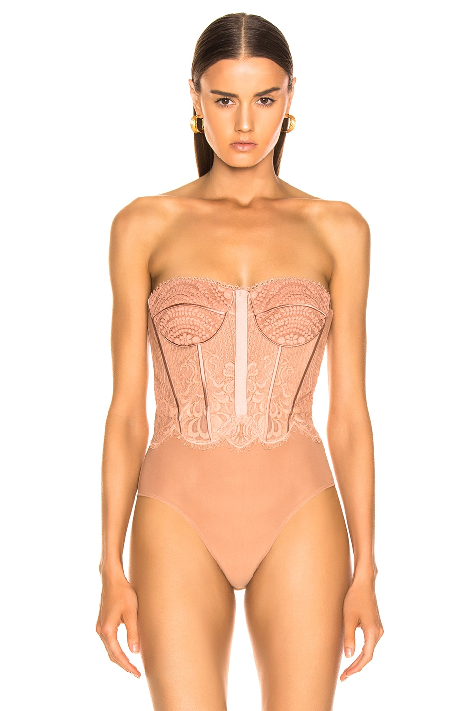 Image 3 of JONATHAN SIMKHAI for FWRD Mixed Lace Bustier Bodysuit in Nude