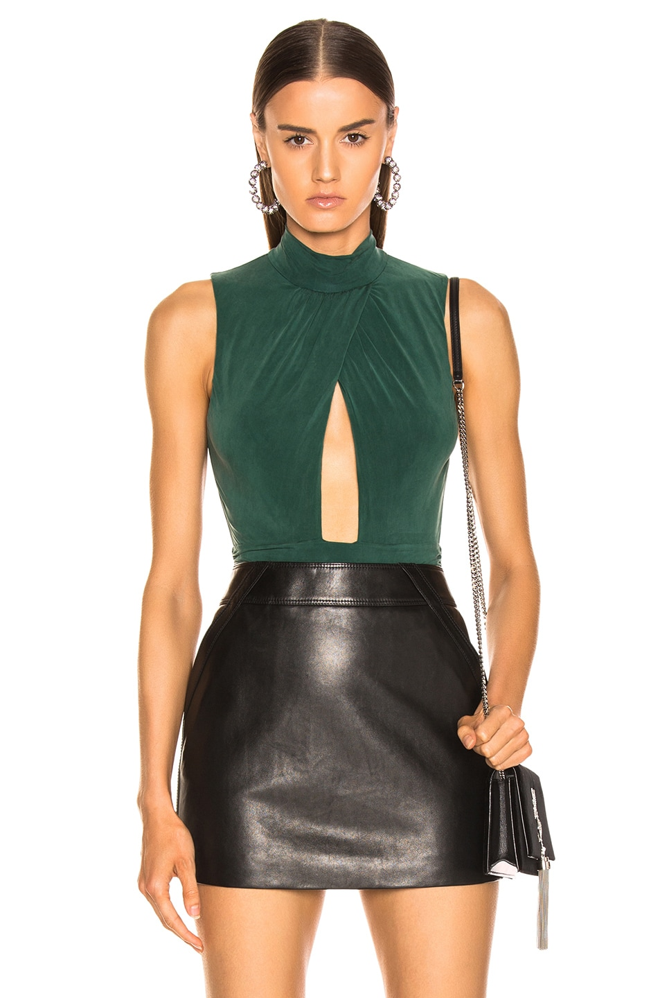 Image 1 of JONATHAN SIMKHAI Sueded Jersey Bodysuit in Juniper