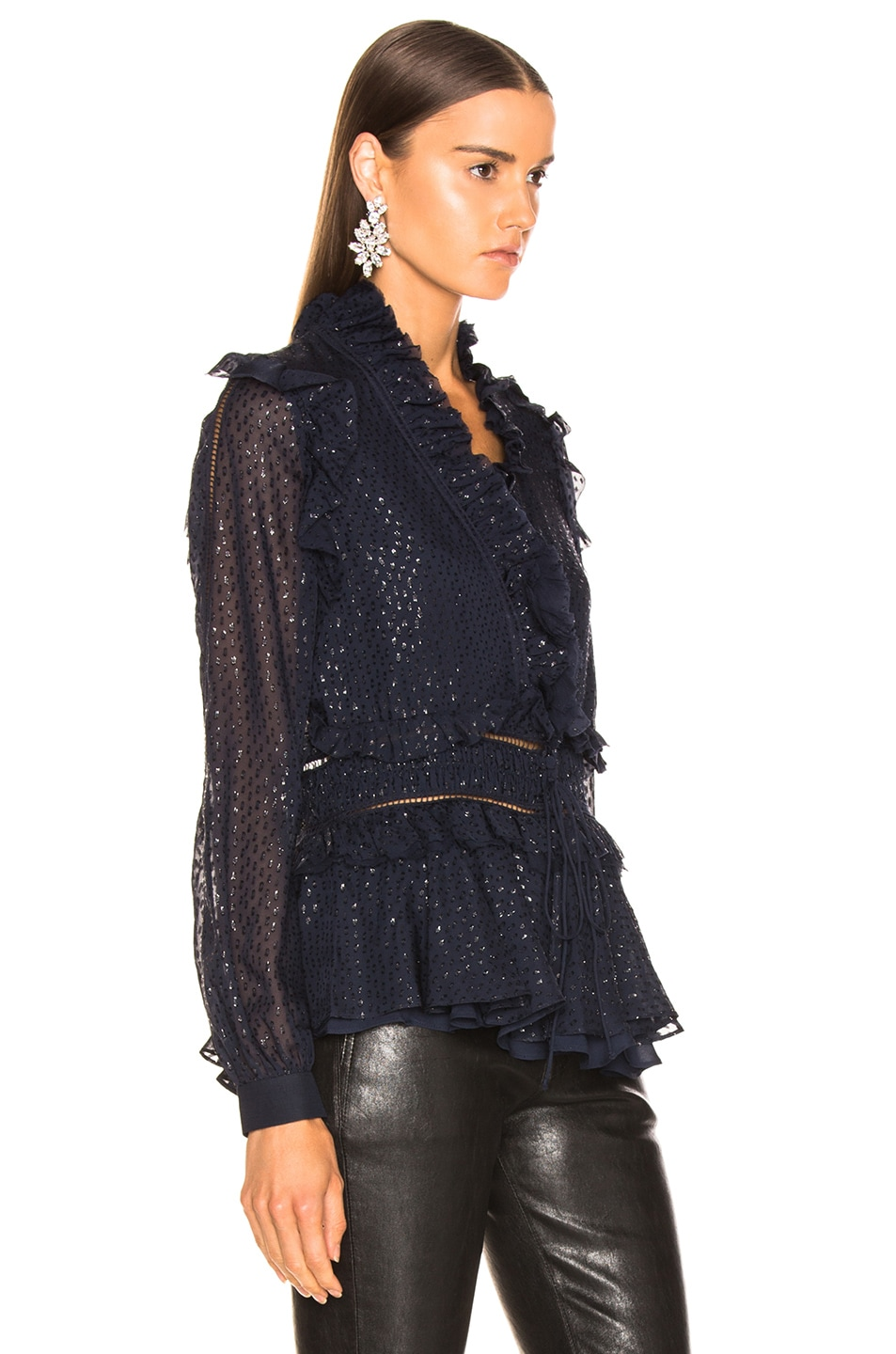 Image 2 of JONATHAN SIMKHAI Metallic Chiffon Blouse in Midnight