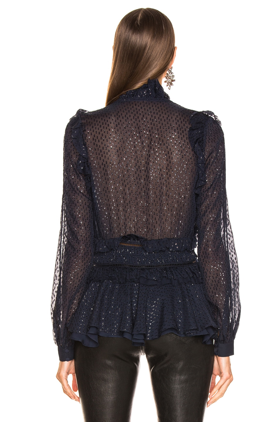 Image 3 of JONATHAN SIMKHAI Metallic Chiffon Blouse in Midnight