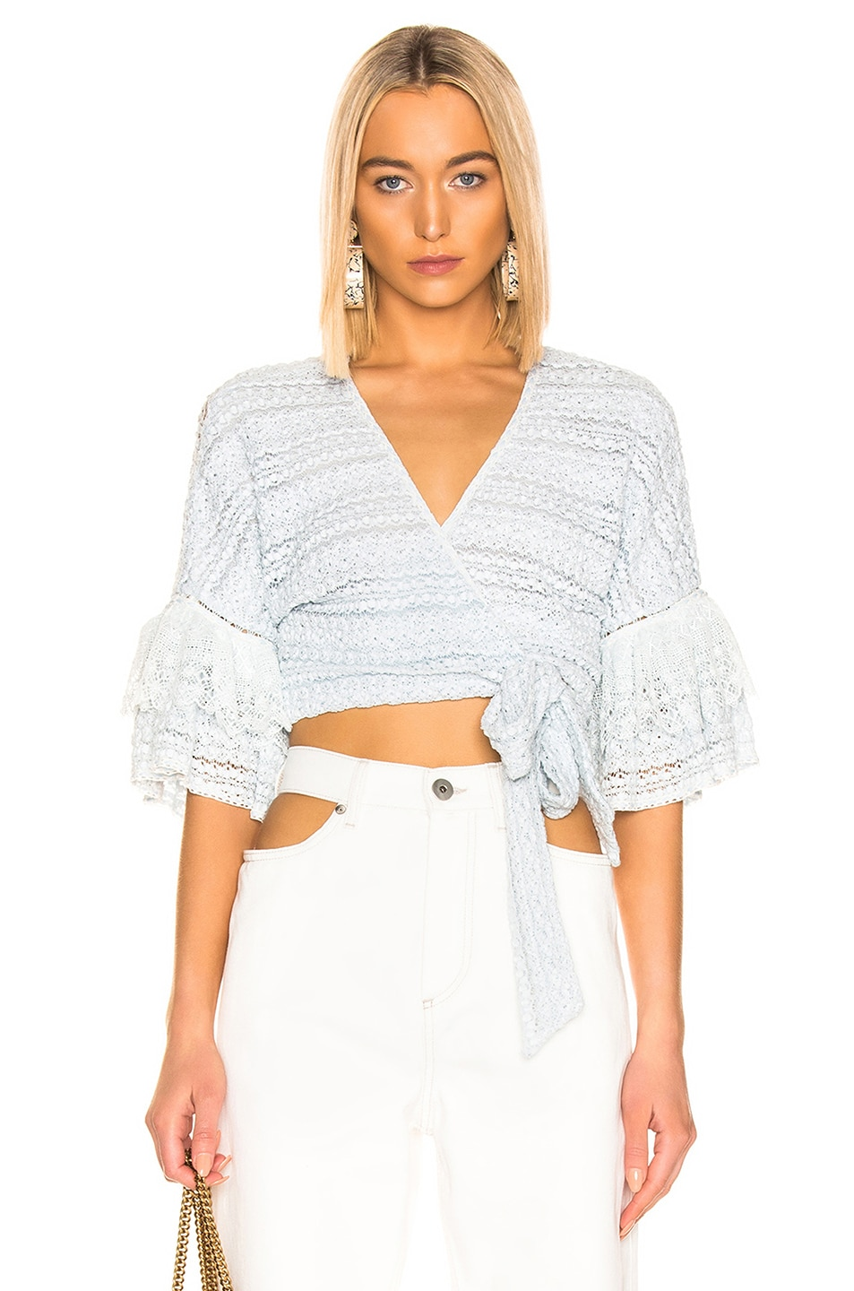 JONATHAN SIMKHAI Mixed Knit Lace Wrap Top Light Blue on sale