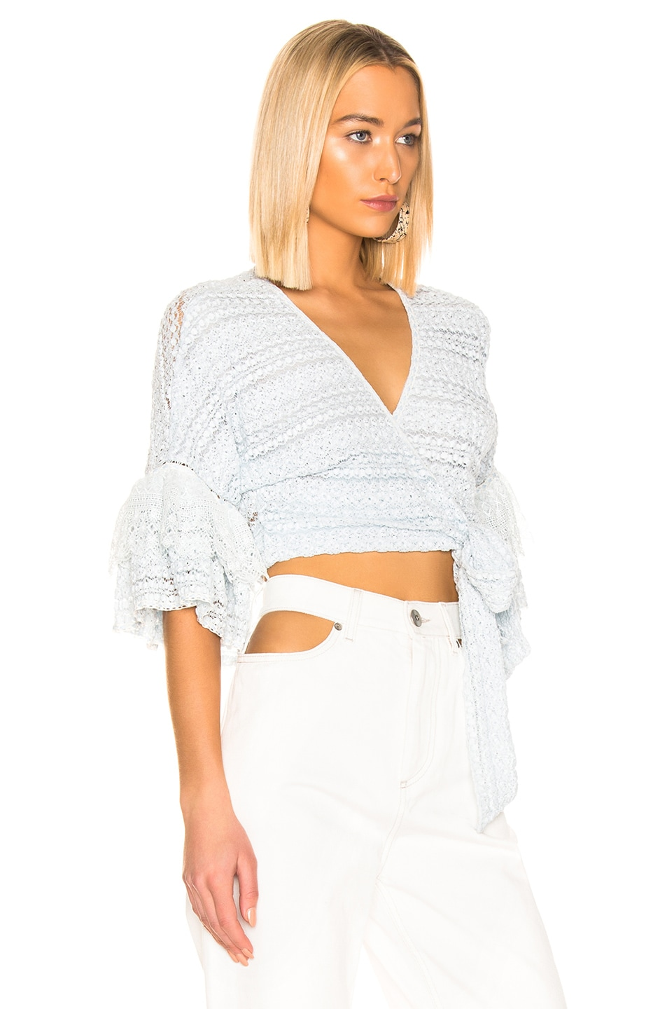 Image 2 of JONATHAN SIMKHAI Mixed Knit Lace Wrap Top in Light Blue