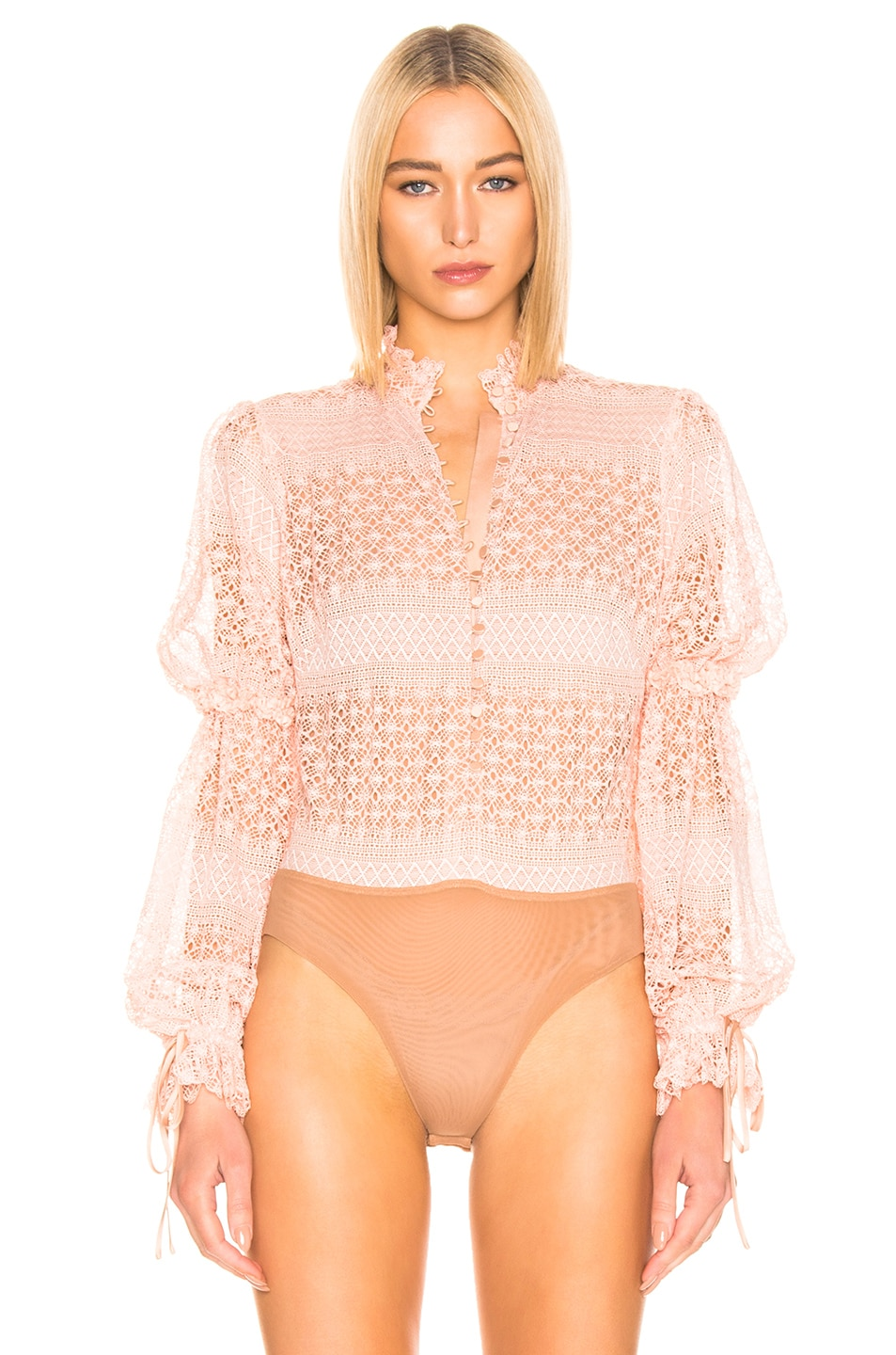 Image 2 of JONATHAN SIMKHAI Mixed Knit Lace Mock Neck Bodysuit in Cherry Blossom