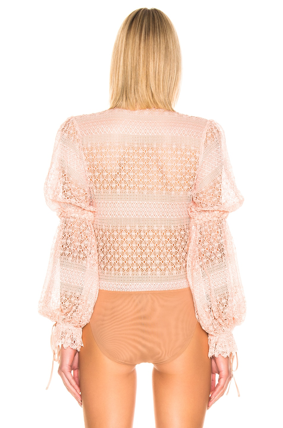 Image 4 of JONATHAN SIMKHAI Mixed Knit Lace Mock Neck Bodysuit in Cherry Blossom
