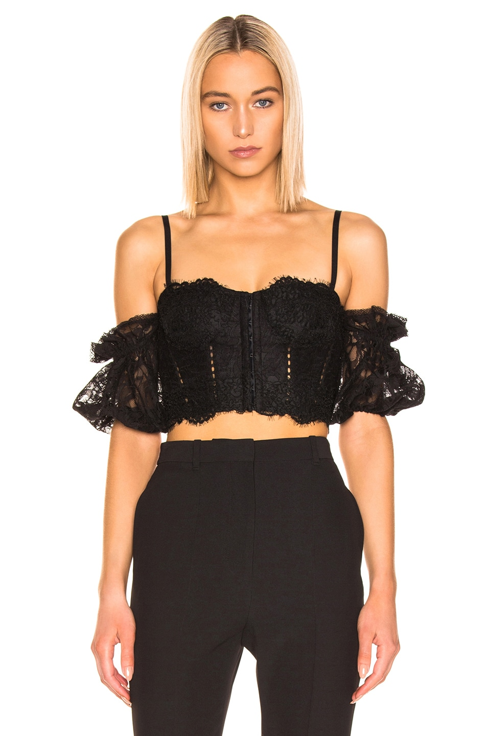 Image 2 of JONATHAN SIMKHAI Multimedia Corded Lace Bustier Top in Black