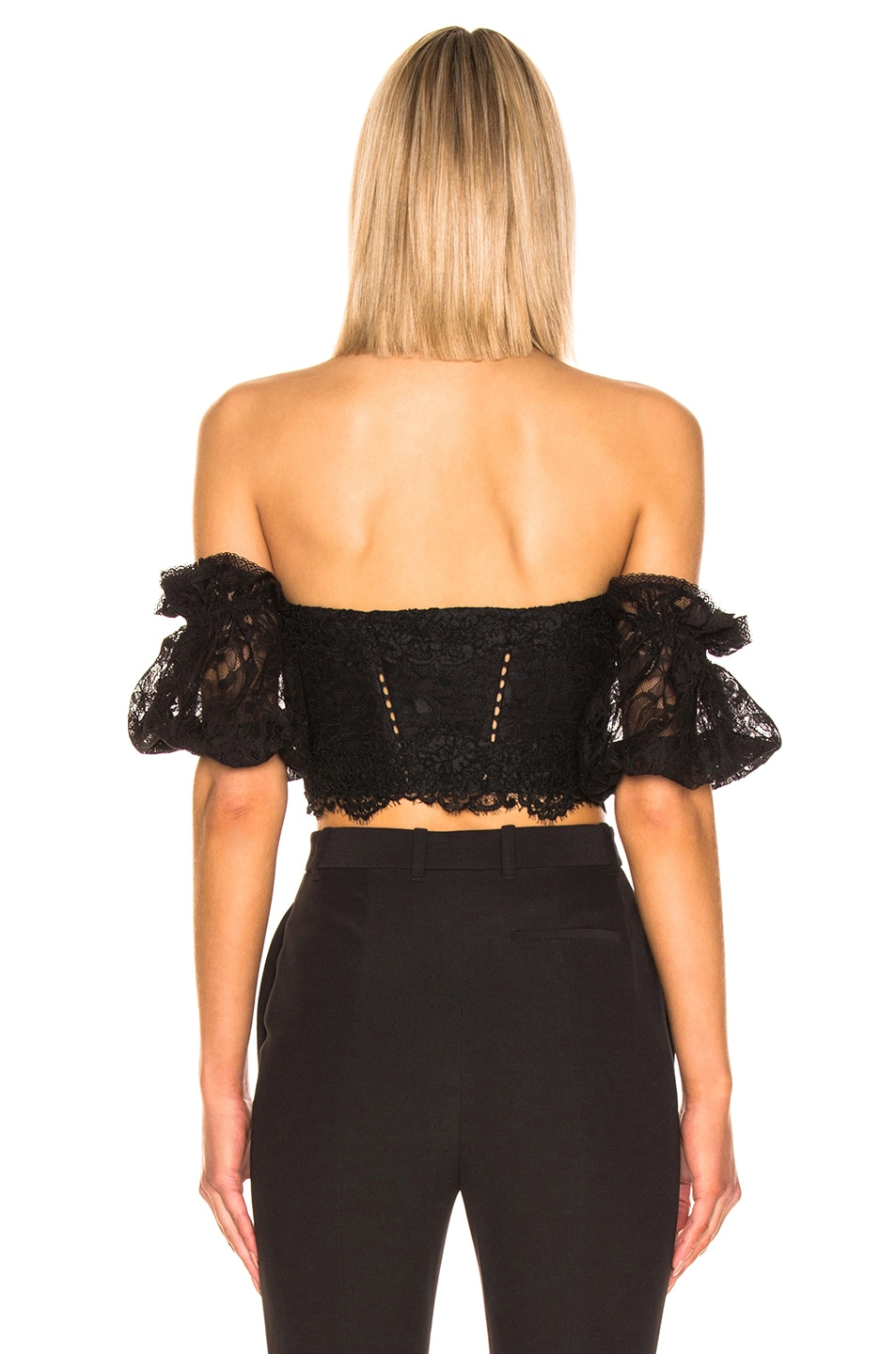 Image 4 of JONATHAN SIMKHAI Multimedia Corded Lace Bustier Top in Black
