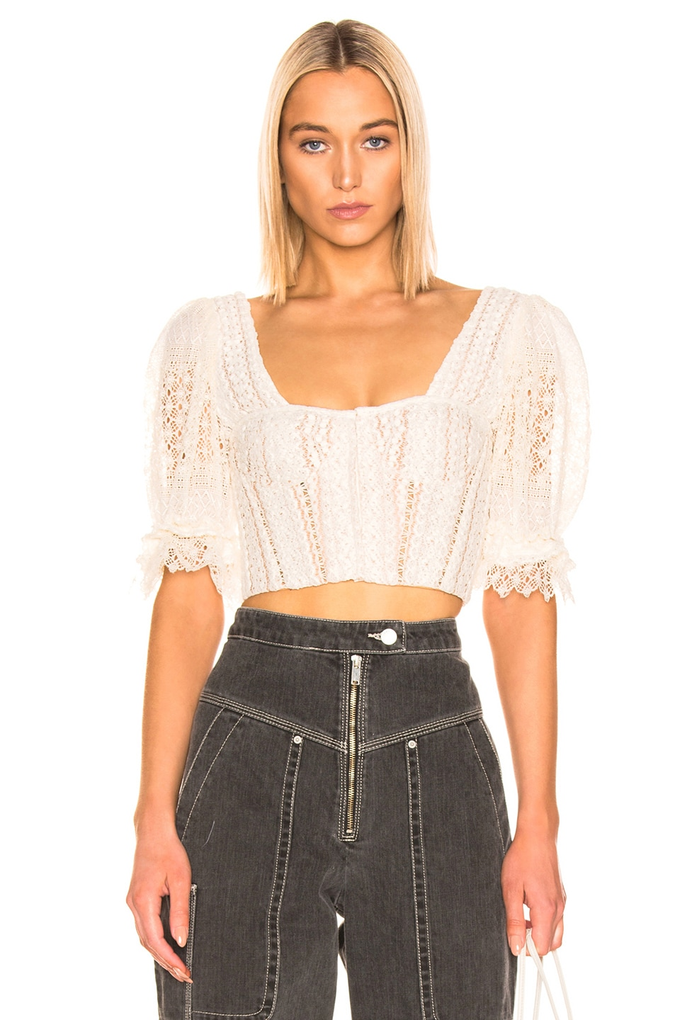 Image 1 of JONATHAN SIMKHAI Mixed Knit Lace Bustier Top in Ecru