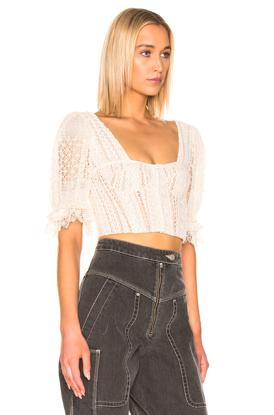 Image 2 of JONATHAN SIMKHAI Mixed Knit Lace Bustier Top in Ecru