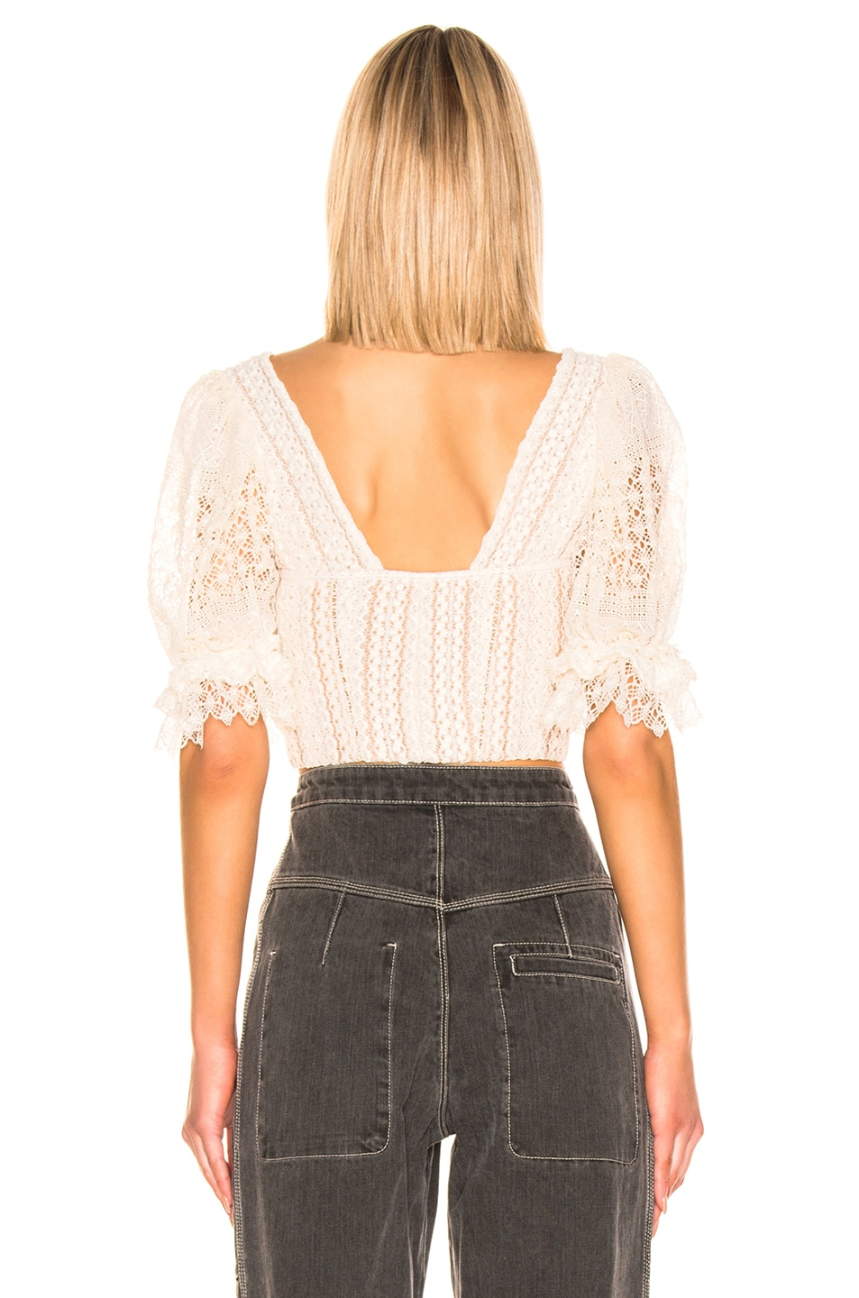 Image 3 of JONATHAN SIMKHAI Mixed Knit Lace Bustier Top in Ecru