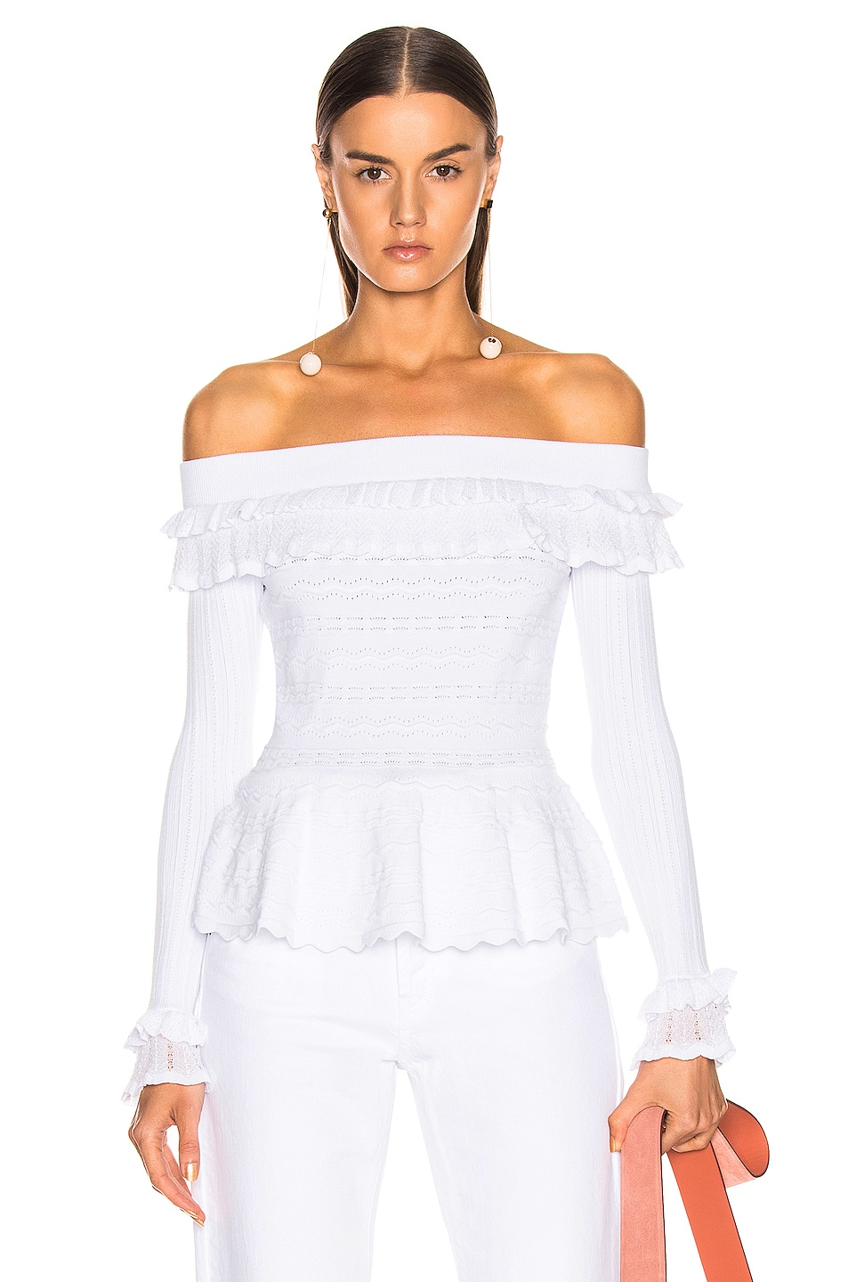 Image 1 of JONATHAN SIMKHAI Lacey Applique Off Shoulder Top in White