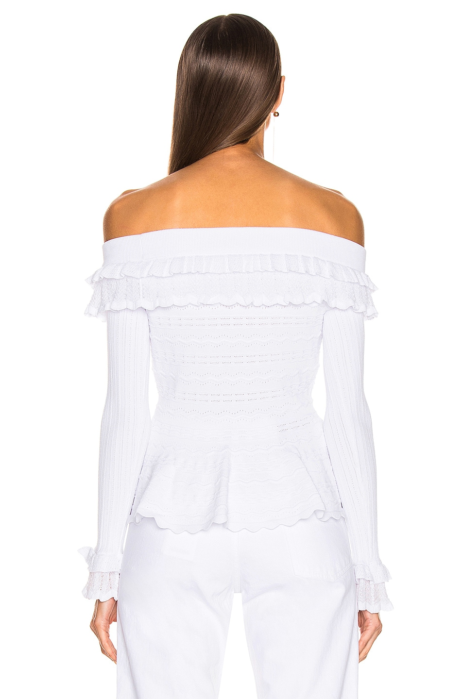 Image 3 of JONATHAN SIMKHAI Lacey Applique Off Shoulder Top in White