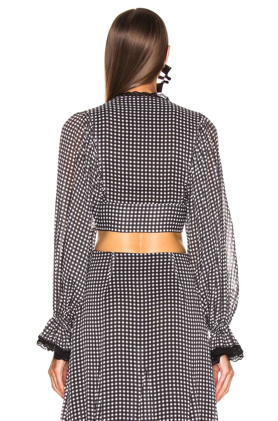 Image 3 of JONATHAN SIMKHAI Gingham Front Tie Top in Black & White