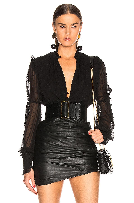 Image 1 of JONATHAN SIMKHAI Embroidered Chiffon Bodysuit in Black