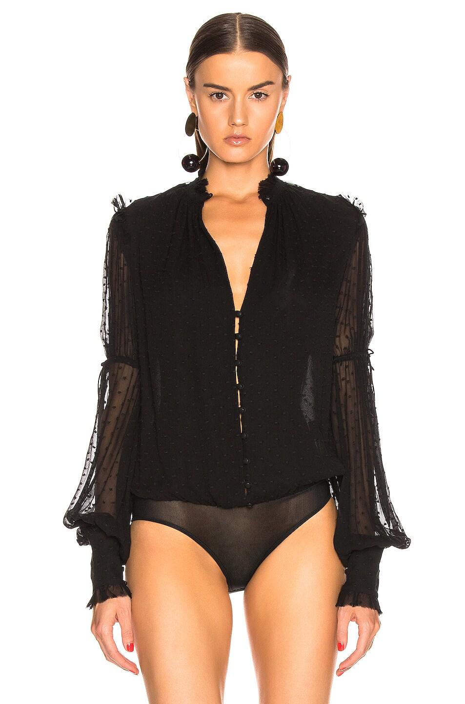 Image 2 of JONATHAN SIMKHAI Embroidered Chiffon Bodysuit in Black