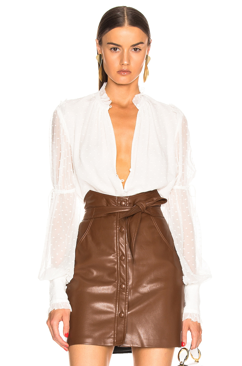 Image 1 of JONATHAN SIMKHAI Embroidered Chiffon Bodysuit in White