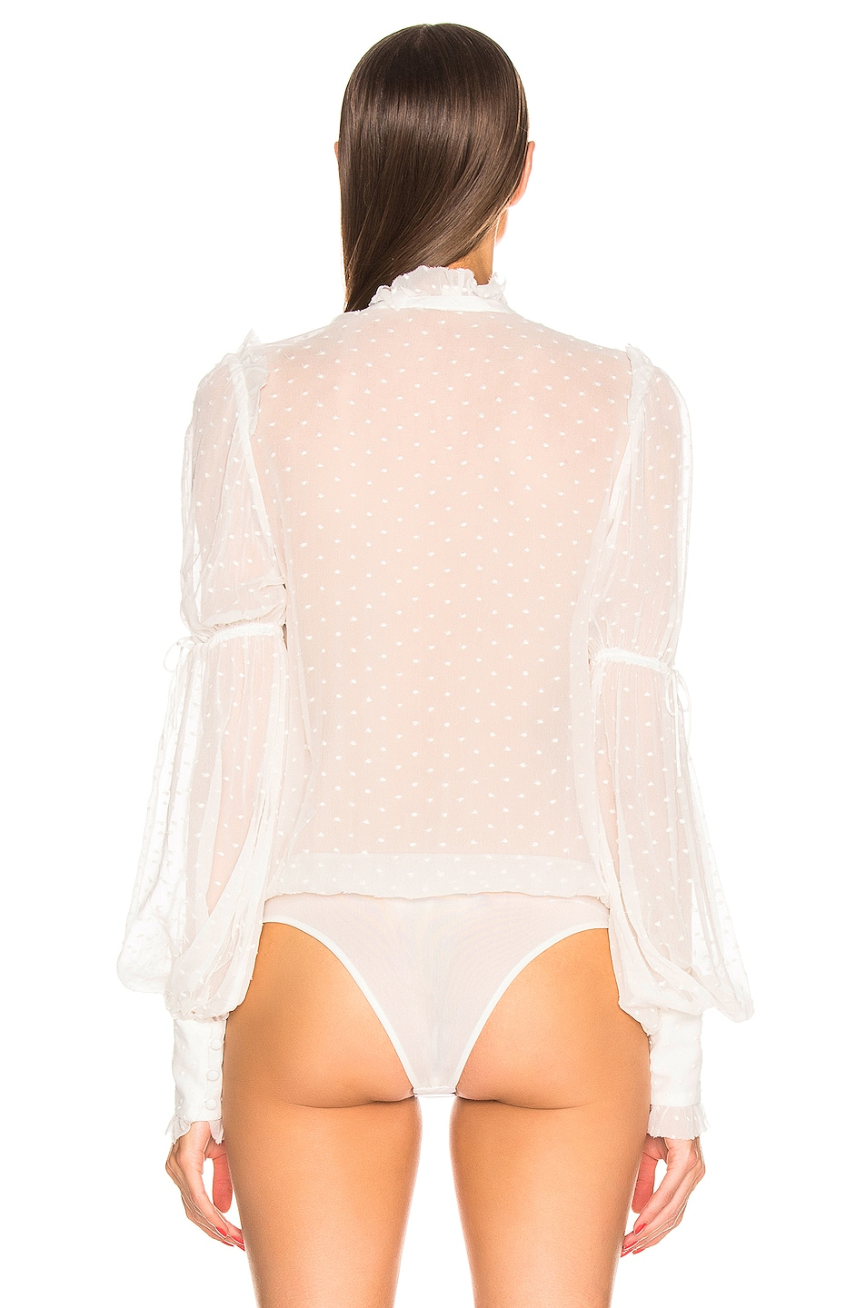 Image 4 of JONATHAN SIMKHAI Embroidered Chiffon Bodysuit in White