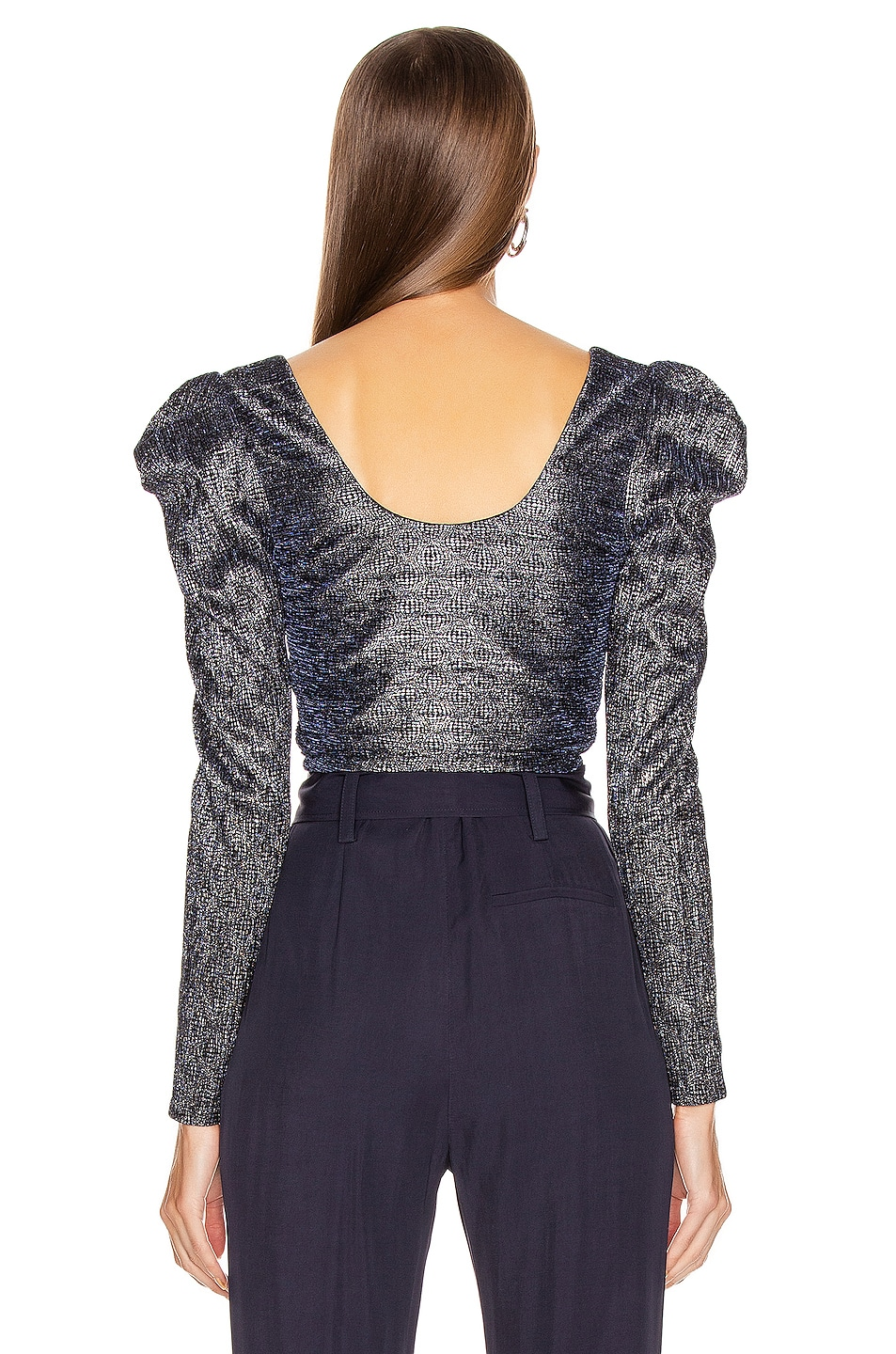 Image 3 of JONATHAN SIMKHAI Plisse Lame Bustier Top in Midnight