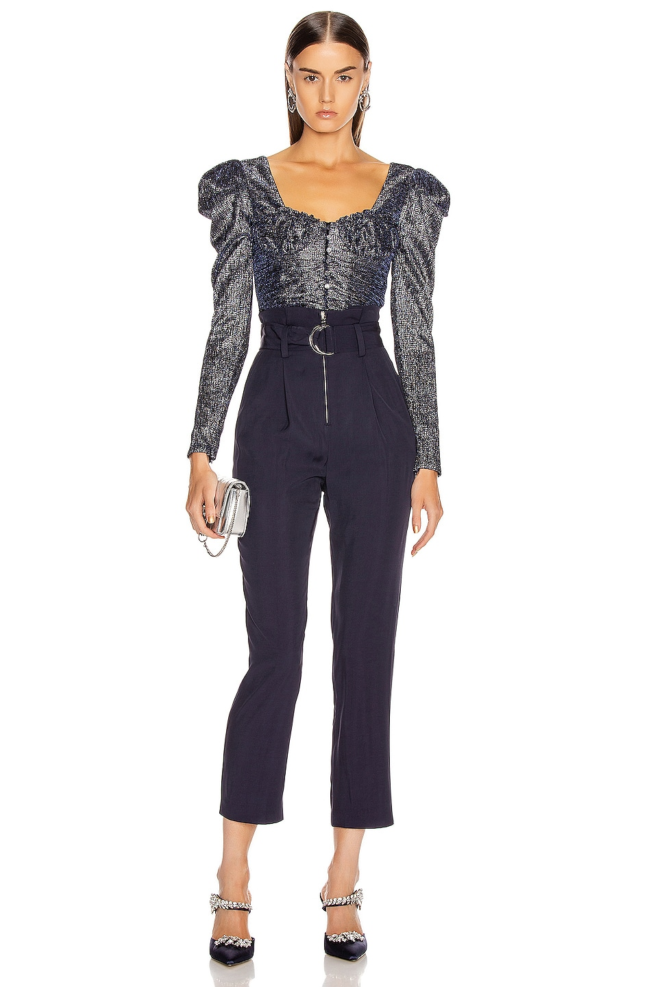 Image 4 of JONATHAN SIMKHAI Plisse Lame Bustier Top in Midnight