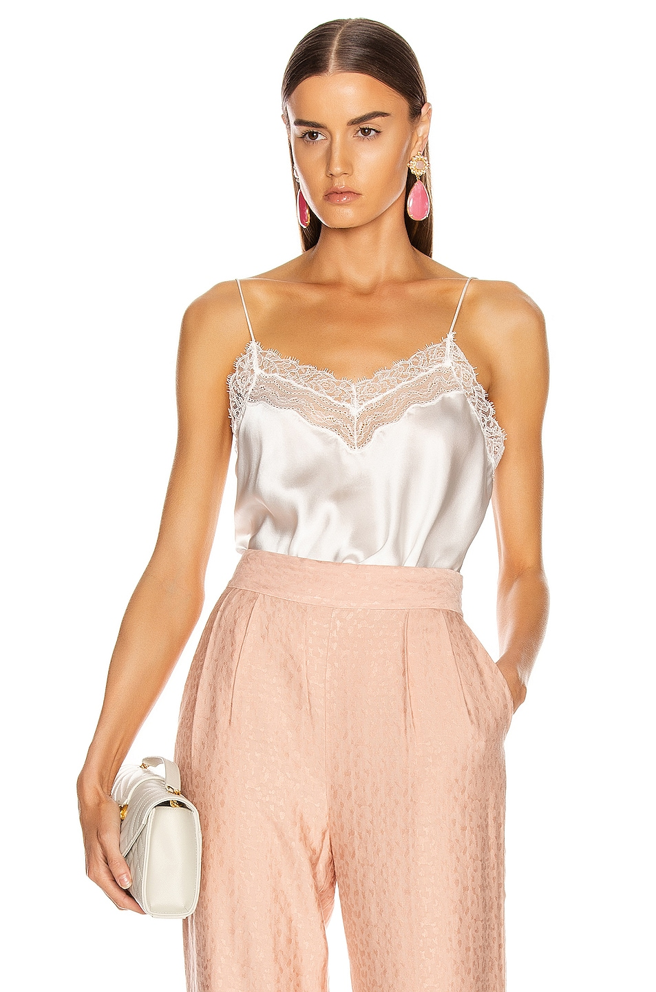 Image 1 of JONATHAN SIMKHAI Lingerie Lace Cami in White