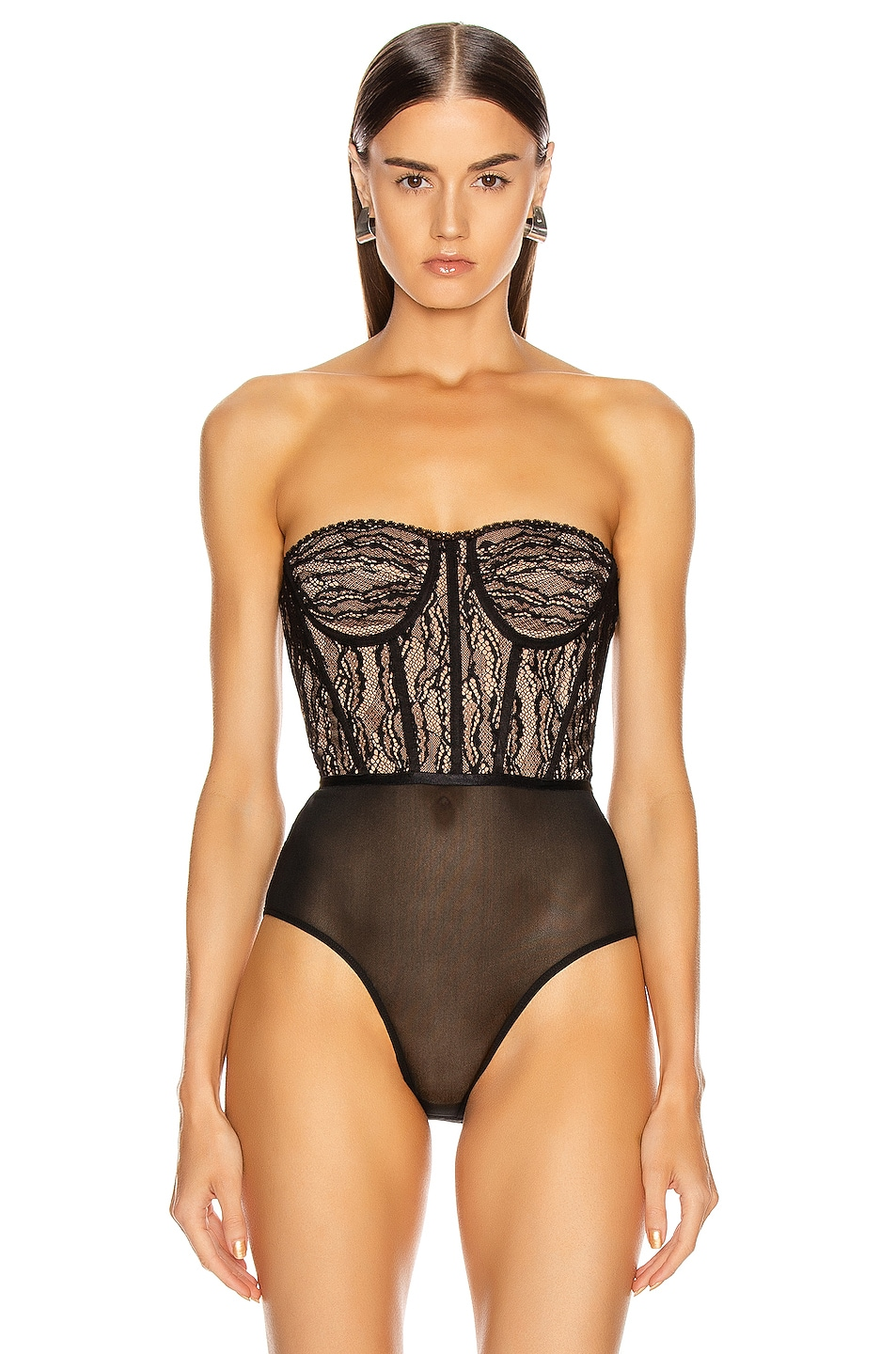 Image 2 of JONATHAN SIMKHAI Lingerie Bustier Bodysuit in Midnight