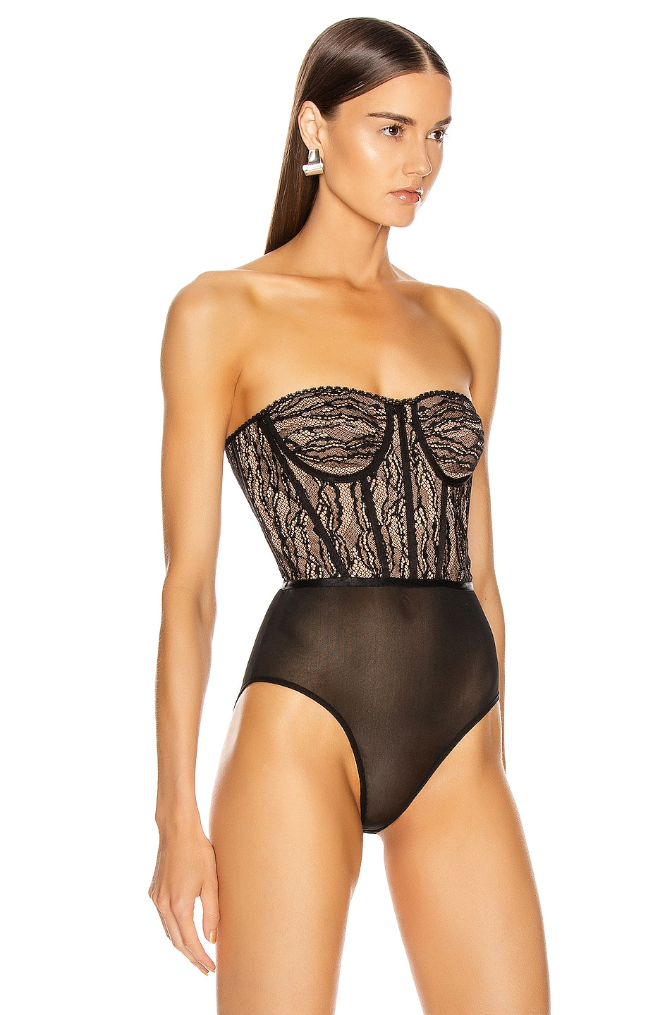 Image 4 of JONATHAN SIMKHAI Lingerie Bustier Bodysuit in Midnight