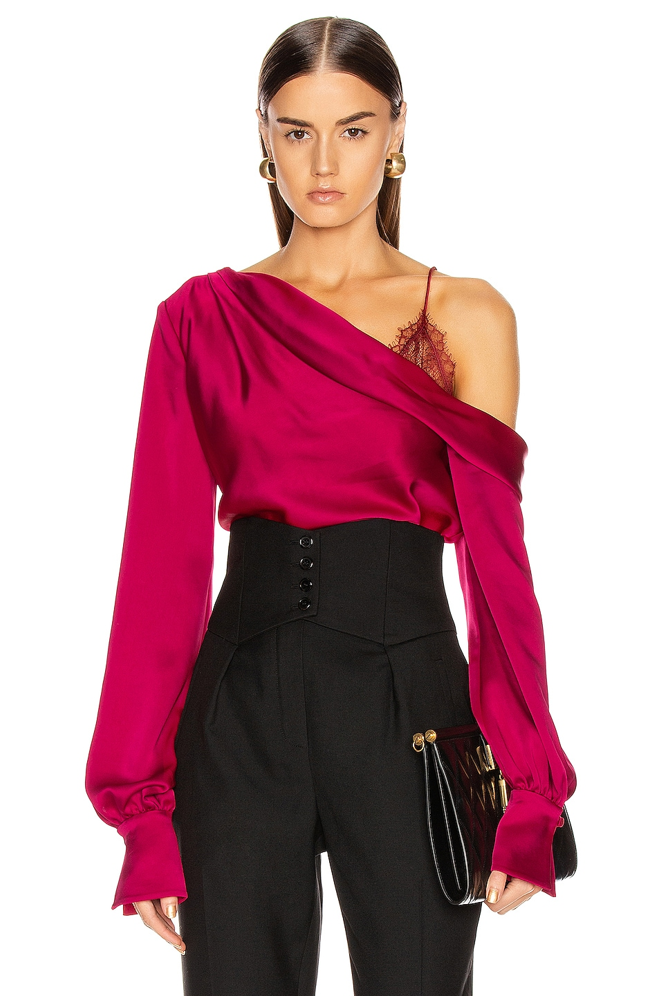 Image 1 of JONATHAN SIMKHAI Lace Drop Shoulder Top in Siren Red