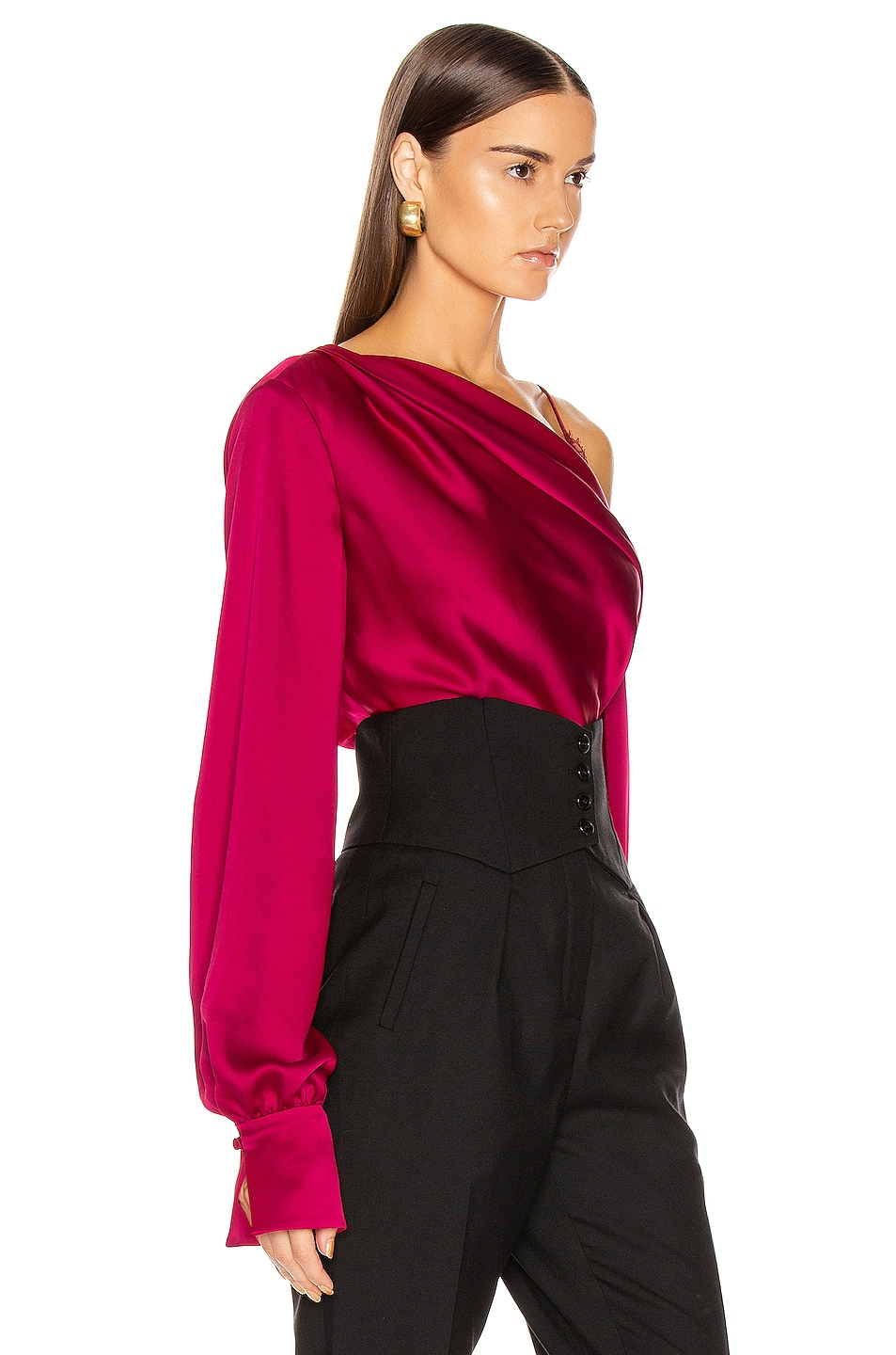 Image 2 of JONATHAN SIMKHAI Lace Drop Shoulder Top in Siren Red