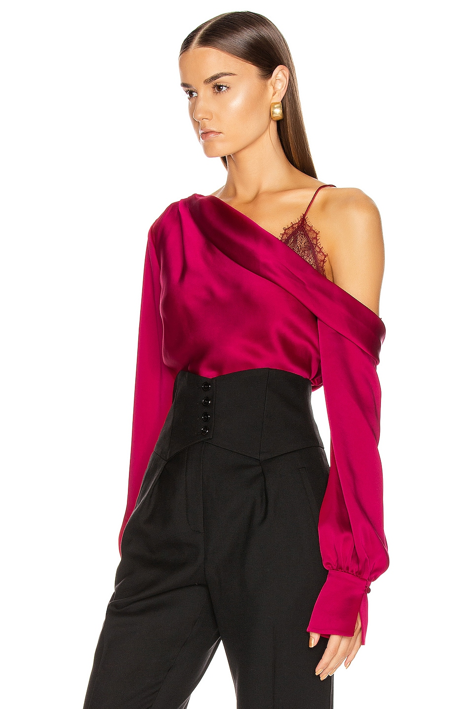 Image 3 of JONATHAN SIMKHAI Lace Drop Shoulder Top in Siren Red
