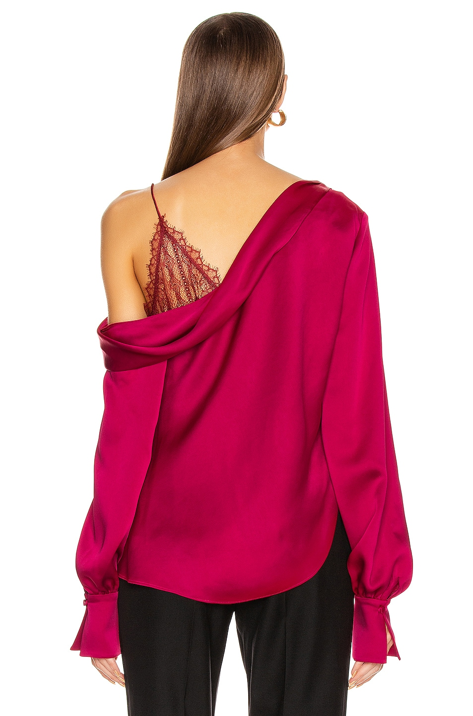 Image 4 of JONATHAN SIMKHAI Lace Drop Shoulder Top in Siren Red