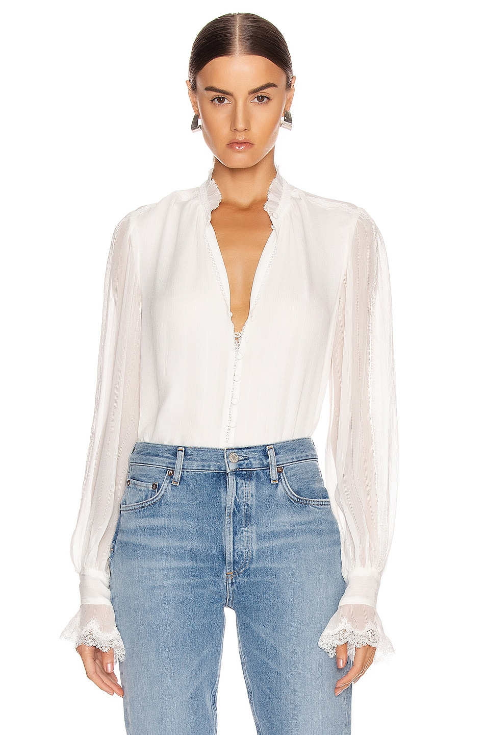 Image 1 of JONATHAN SIMKHAI Stripe Georgette Button Down Blouse in White