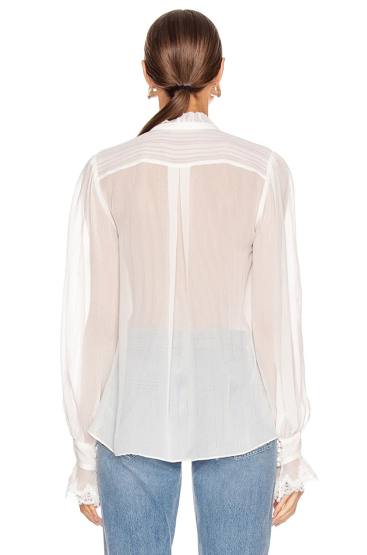 Image 3 of JONATHAN SIMKHAI Stripe Georgette Button Down Blouse in White