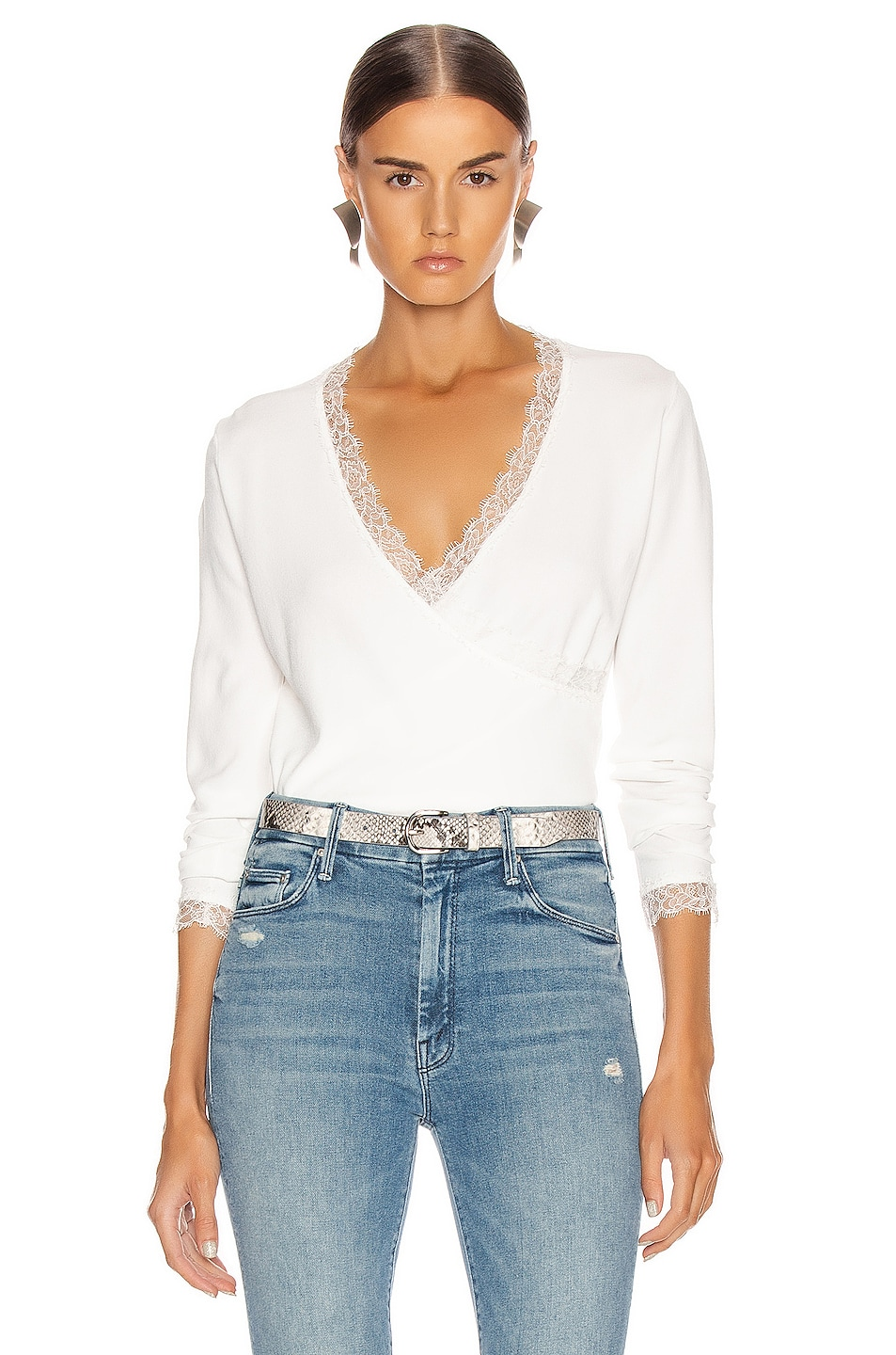 Image 1 of JONATHAN SIMKHAI Knit Long Sleeve Wrap Top in White