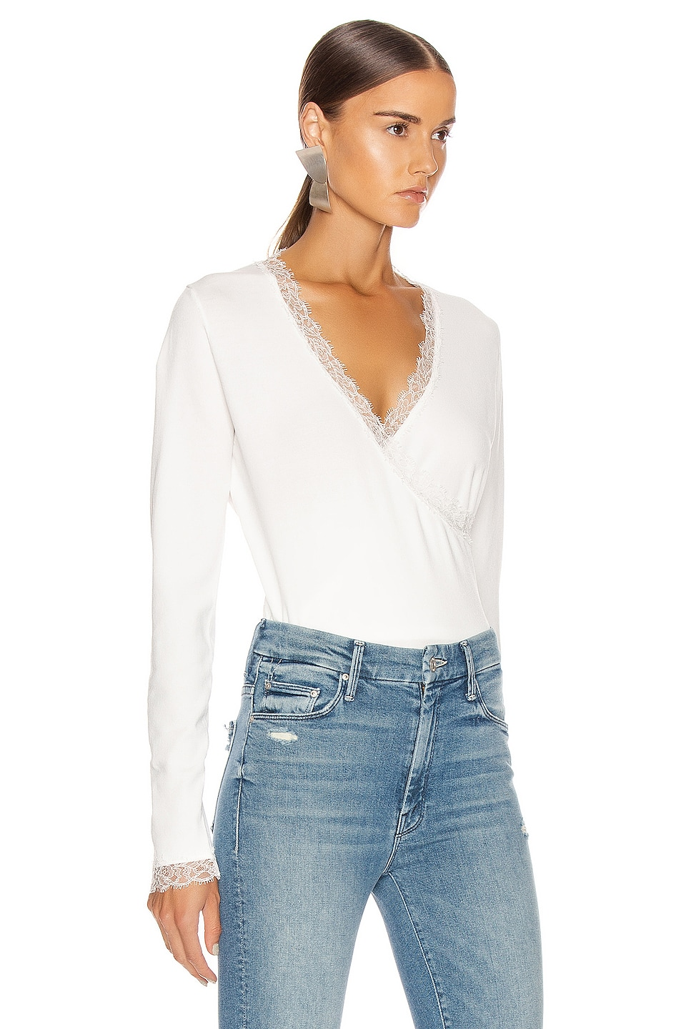 Image 2 of JONATHAN SIMKHAI Knit Long Sleeve Wrap Top in White