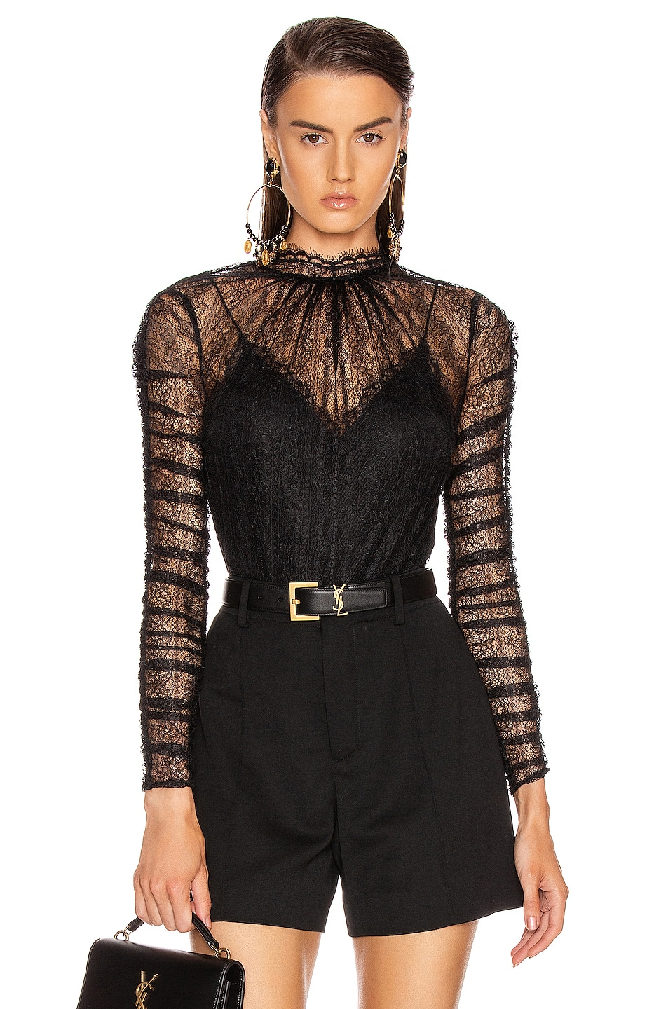 Image 1 of JONATHAN SIMKHAI Lace Bodysuit in Black