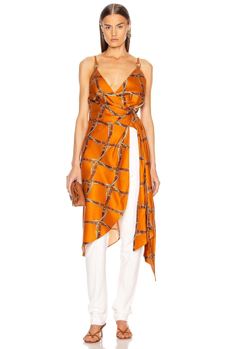 Image 1 of JONATHAN SIMKHAI Saddle Print Wrap Top in Amber Combo