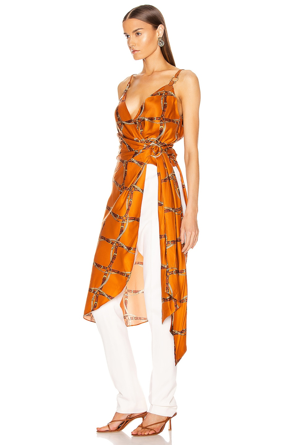 Image 3 of JONATHAN SIMKHAI Saddle Print Wrap Top in Amber Combo
