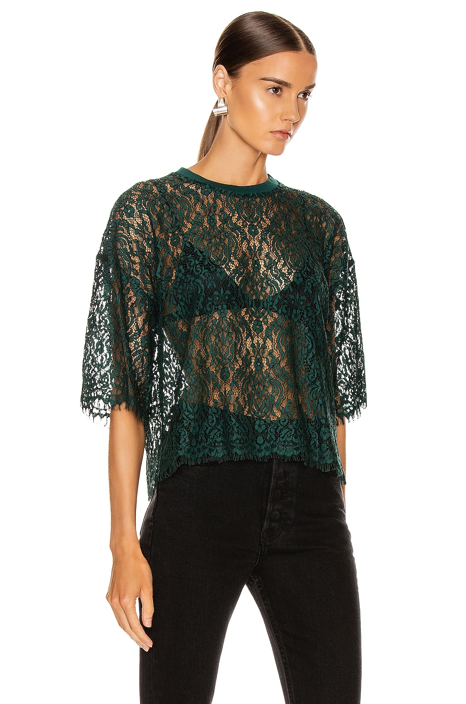 Image 2 of JONATHAN SIMKHAI Lace Tee in Emerald