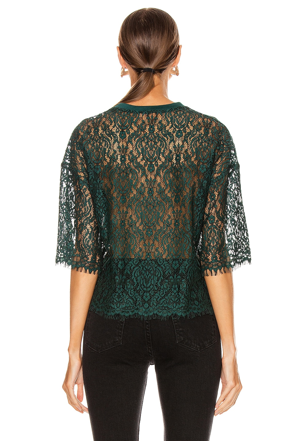 Image 3 of JONATHAN SIMKHAI Lace Tee in Emerald