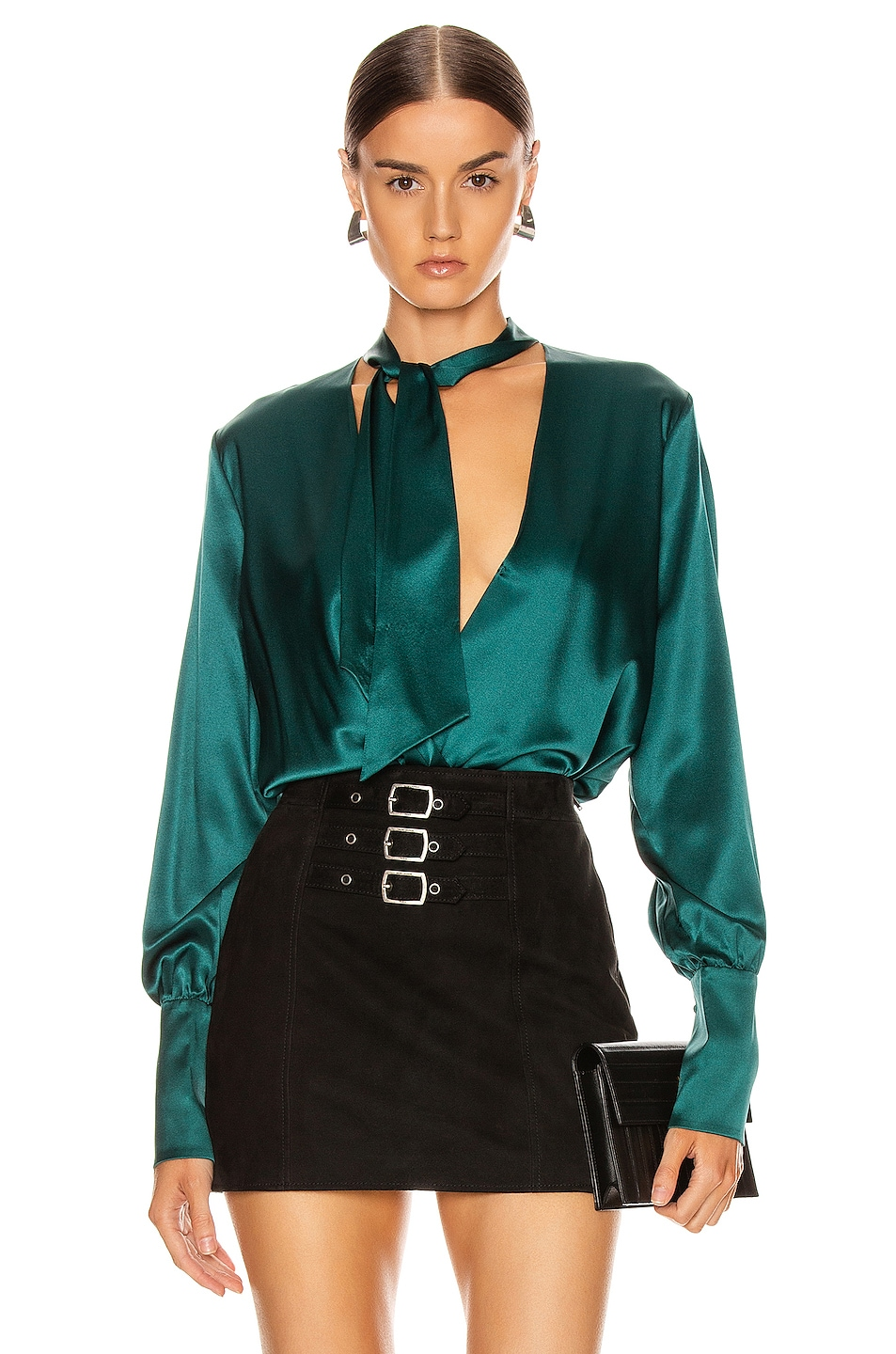 Image 1 of JONATHAN SIMKHAI Wrap Front Bodysuit in Deep Emerald
