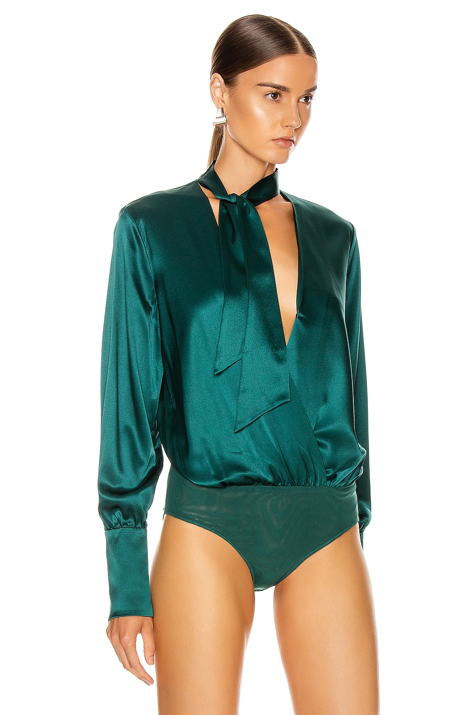 Image 3 of JONATHAN SIMKHAI Wrap Front Bodysuit in Deep Emerald