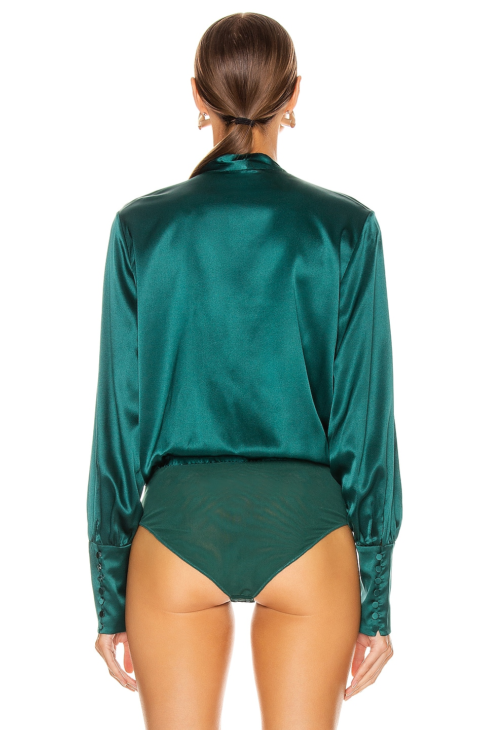 Image 4 of JONATHAN SIMKHAI Wrap Front Bodysuit in Deep Emerald