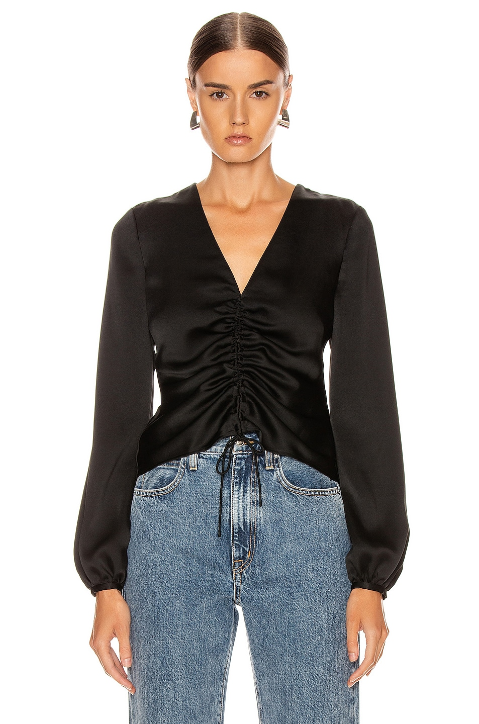 Image 1 of JONATHAN SIMKHAI Ruched Front Top in Black