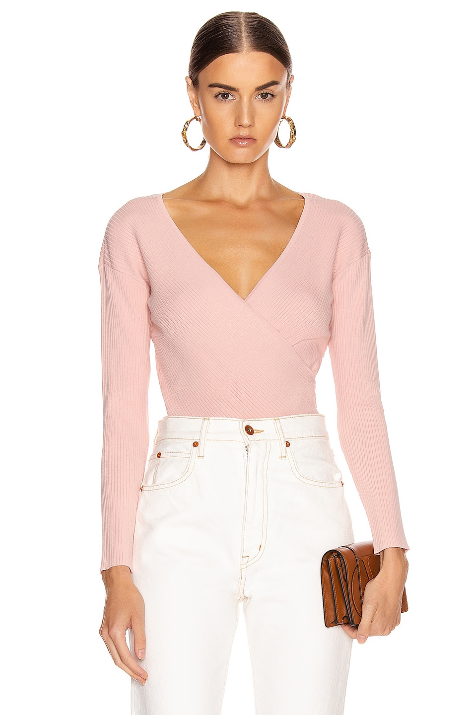Image 1 of JONATHAN SIMKHAI Deep Rib Wrap Top in Nude