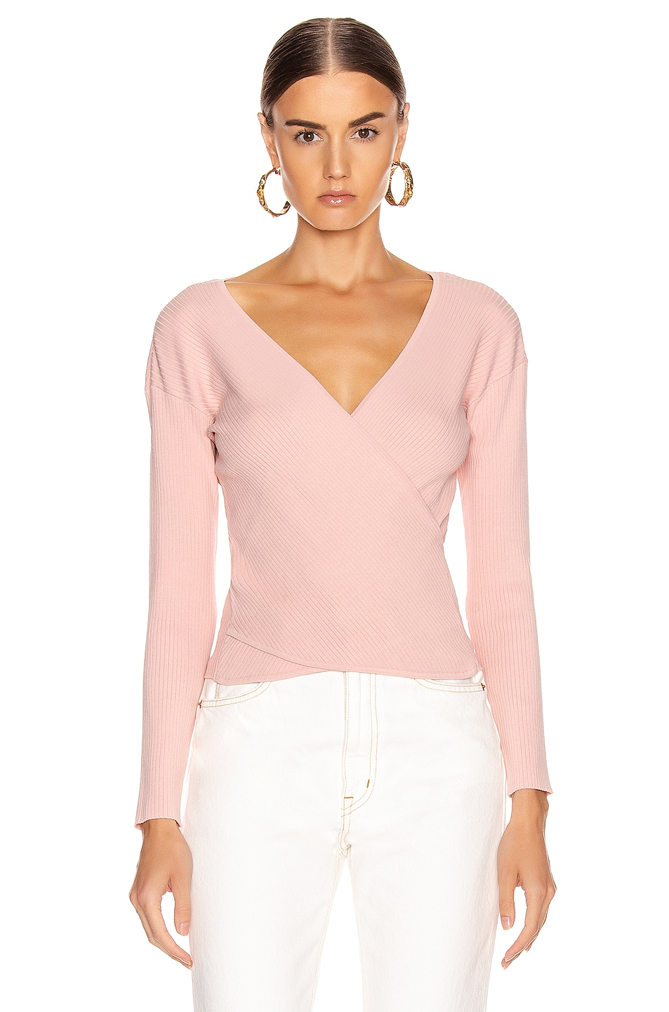 Image 2 of JONATHAN SIMKHAI Deep Rib Wrap Top in Nude