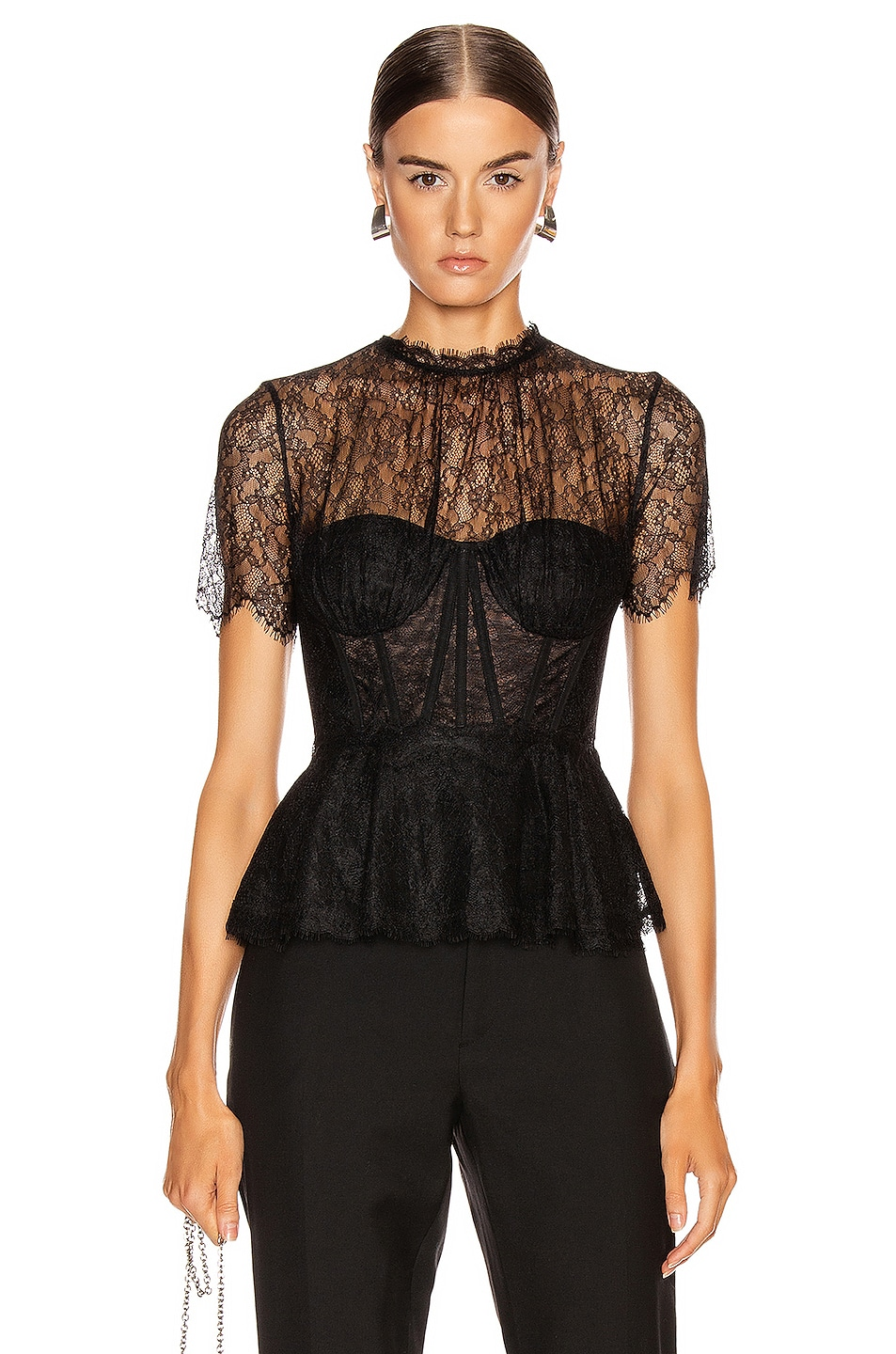 Image 1 of JONATHAN SIMKHAI Lace Bustier Top in Black