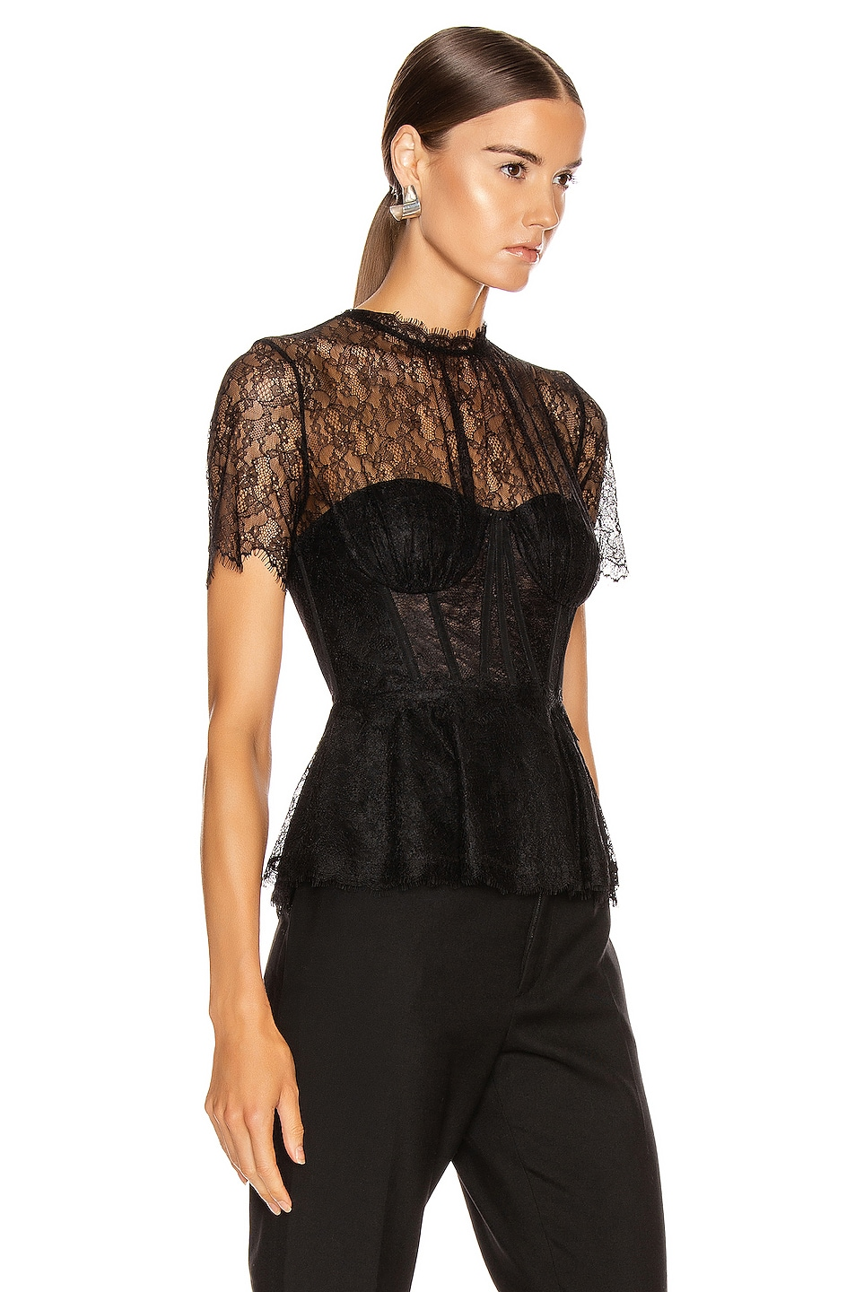Image 2 of JONATHAN SIMKHAI Lace Bustier Top in Black