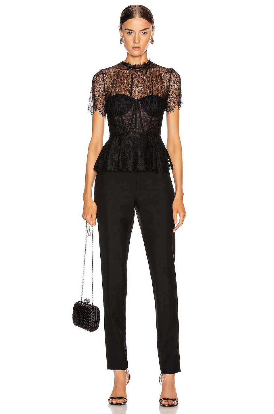Image 4 of JONATHAN SIMKHAI Lace Bustier Top in Black