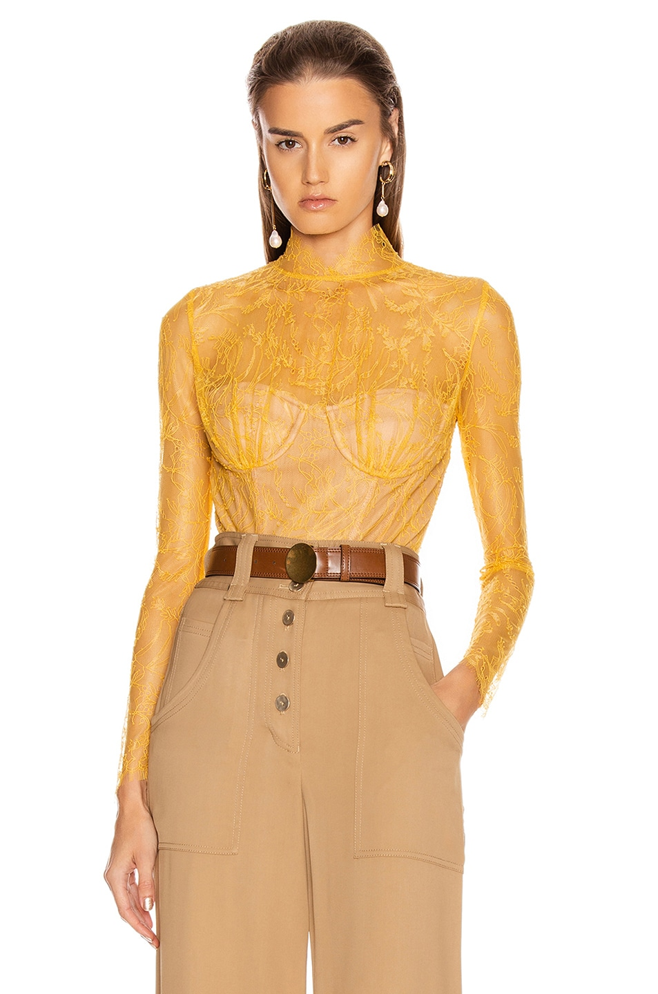 Image 1 of JONATHAN SIMKHAI Lace Long Sleeve Bodysuit in Marigold