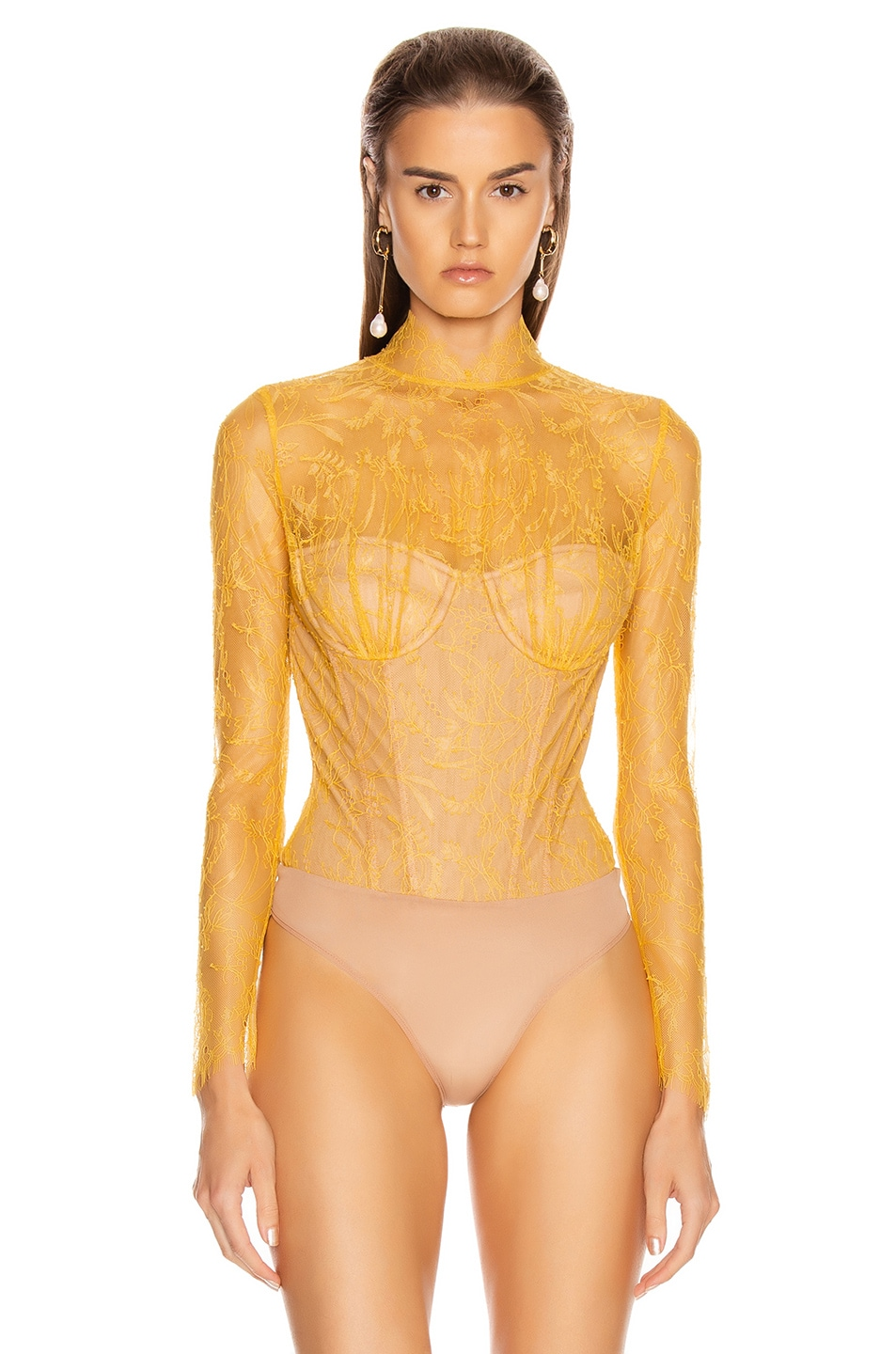 Image 2 of JONATHAN SIMKHAI Lace Long Sleeve Bodysuit in Marigold